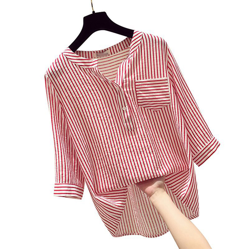 Women Loose V-collar Vertical Striped Chiffon Shirt Three Quarter Sleeves Tops Red Stripe_XL