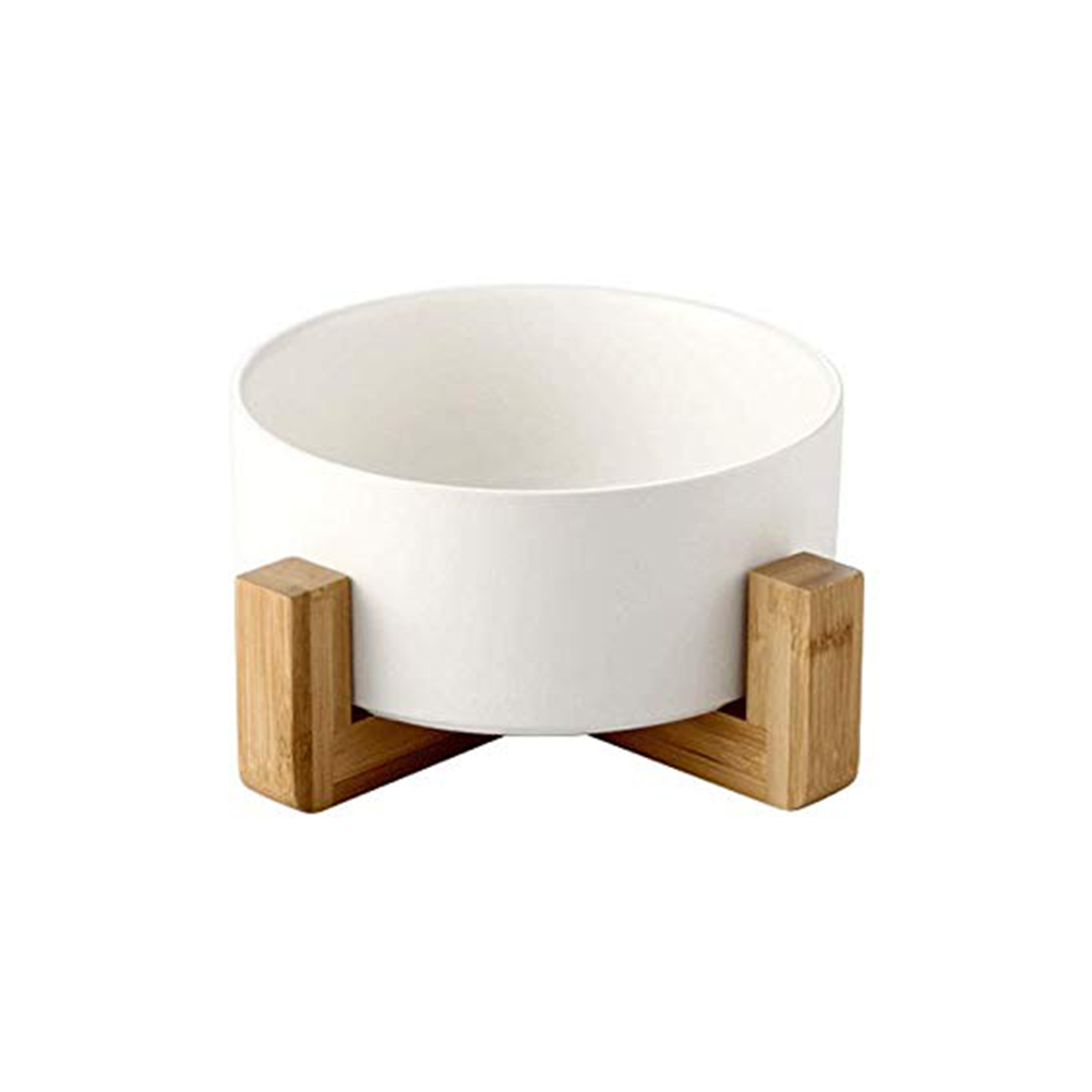 Large Capacity Pet Ceramic Feeding Bowl with Wood Frame for Cat Dog Food White