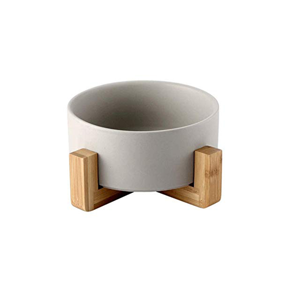 Large Capacity Pet Ceramic Feeding Bowl with Wood Frame for Cat Dog Food Gray