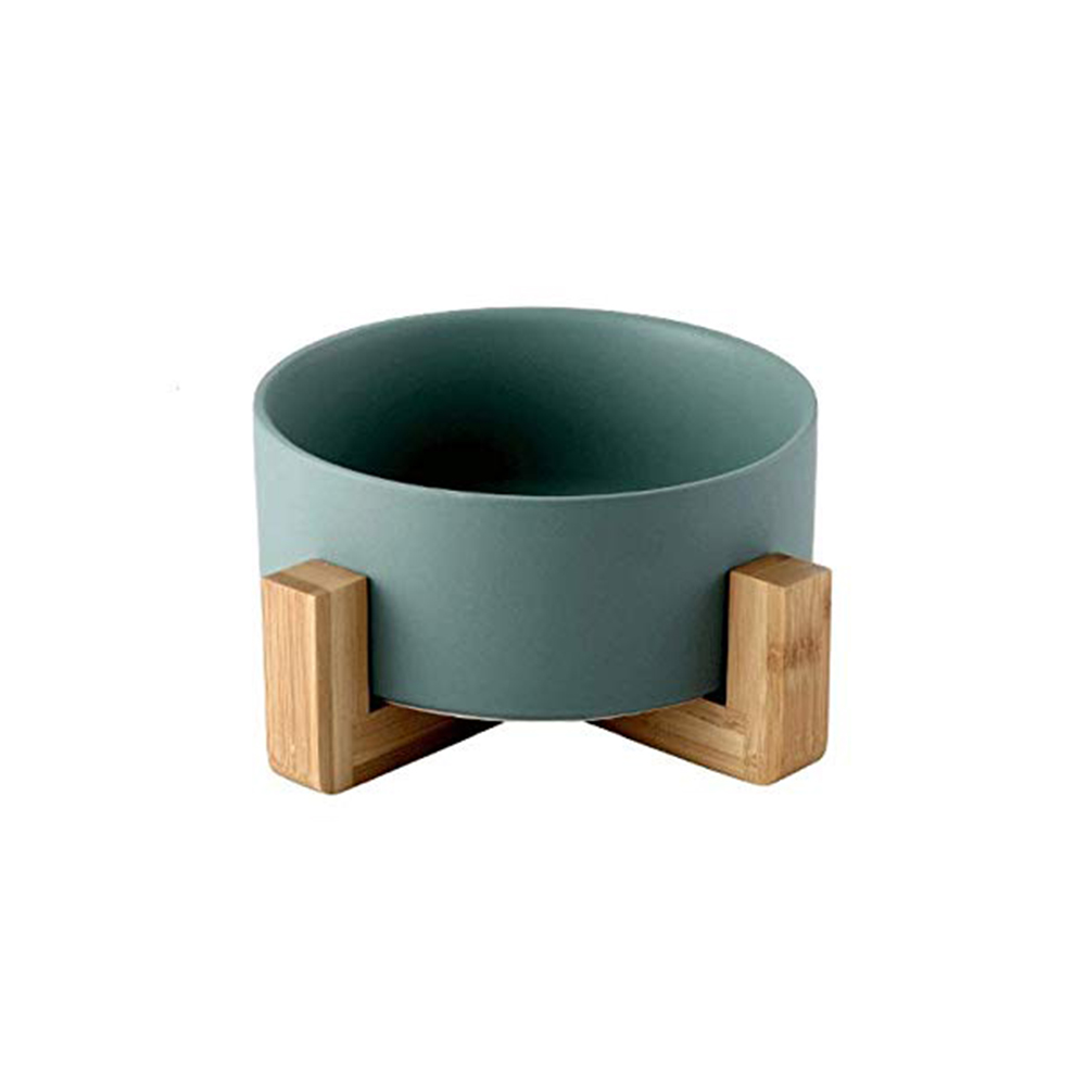 Large Capacity Pet Ceramic Feeding Bowl with Wood Frame for Cat Dog Food Green