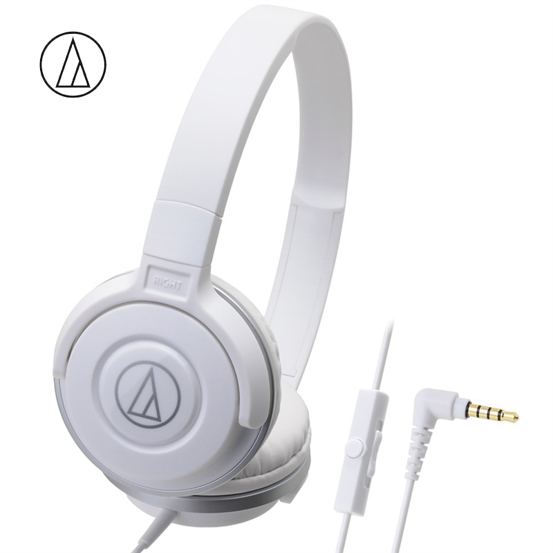 Original Audio Technica ATH-S100iS Headset Wired Control Game Headphone with Micphone Bass Music Earphone for Cellphones Computer White