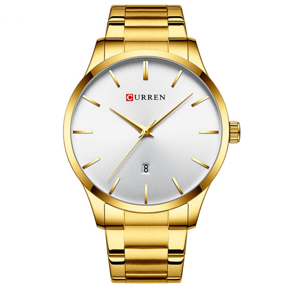 Men Business Quartz Watch Date Display Waterproof Stainless Steel Band Simple Wristwatch Gold