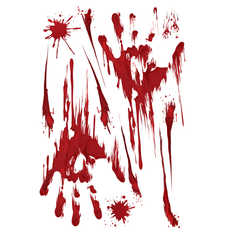 Removable Halloween Bloody Hand Print/Footprint Pattern Wall Stickers Party Prop Decor B: bloody handprints