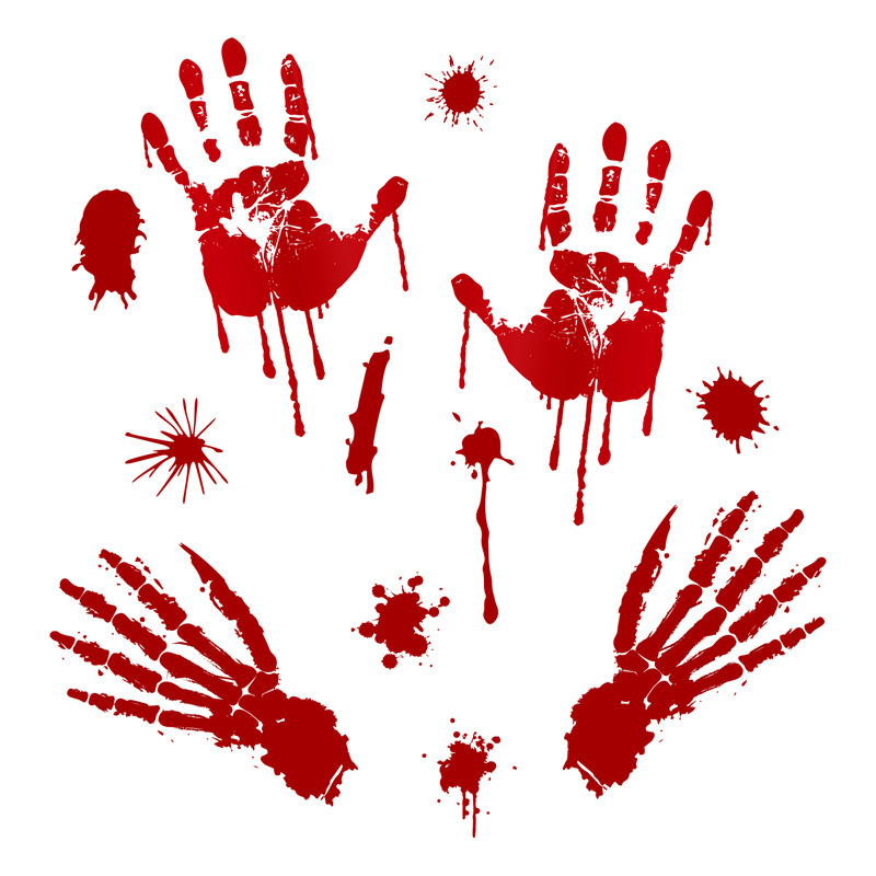 Removable Halloween Bloody Hand Print/Footprint Pattern Wall Stickers Party Prop Decor C: bloody hand bone print