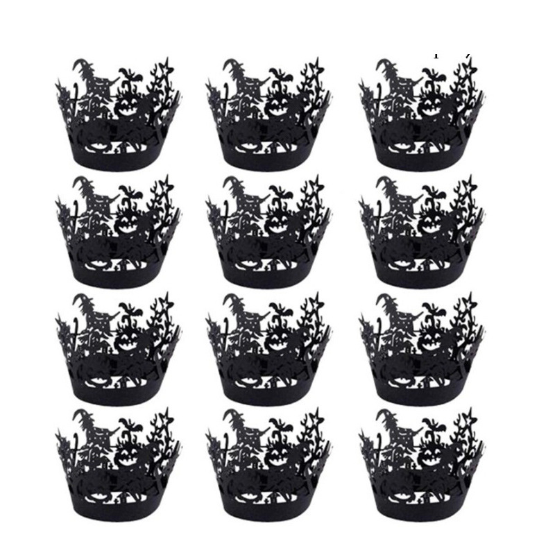 12pcs Paper Halloween Hollow Cupcakes Paper  Edge Household Kitchen Backing Accessories Witch