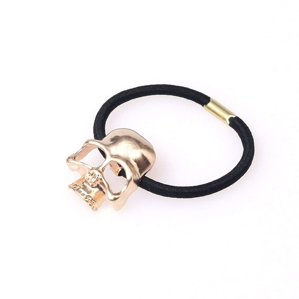 Personality Punk Stereo Hair Rope Halloween Metal Skull Head Hair Ring Hair Accessories Rubber Band Gold