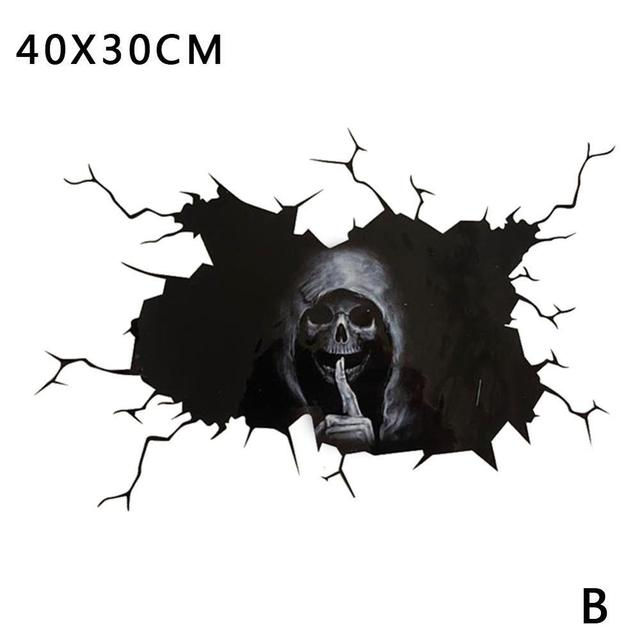Happy Halloween Wall Floor Decal Horror Silence Wall Stickers Skull Sticker Car Window Home Decor Decal Party Decoration 40*30cm