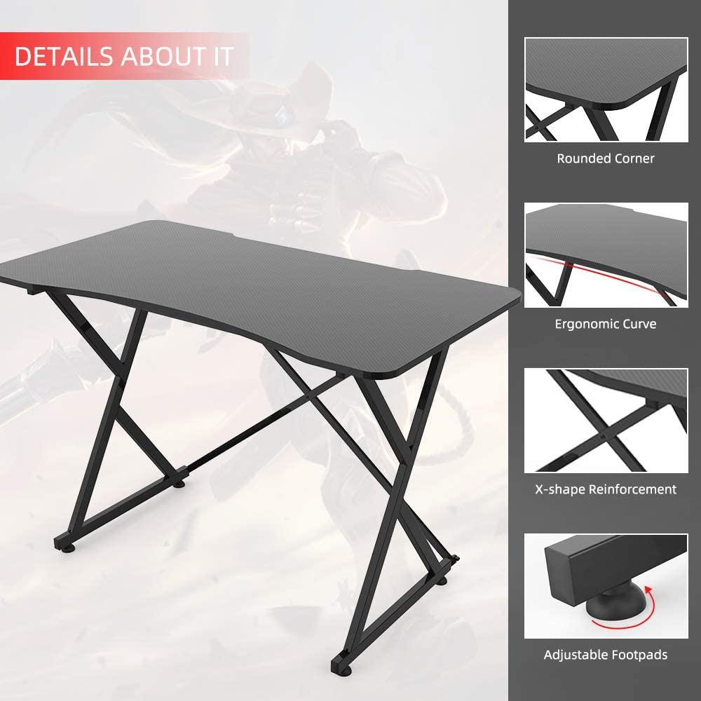 [US Direct] Original Smugdesk Gaming Desk, 43 Inch PC Computer Gaming Desk Ergonomic Home Office Desk Table Gamer Workstation Gaming Table