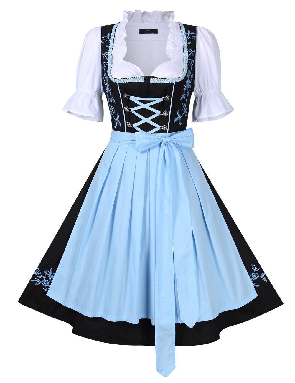 [EU Direct] Women's Beer Festival Stylish Dress Suit Short Sleeve A Swing Holiday Party Dress for Oktoberfest