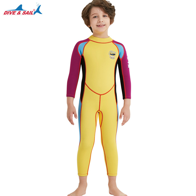 2.5mm Children's High Elastic Scuba Diving Suit Long Sleeve Bathing Suit Yellow purple sleeve_L