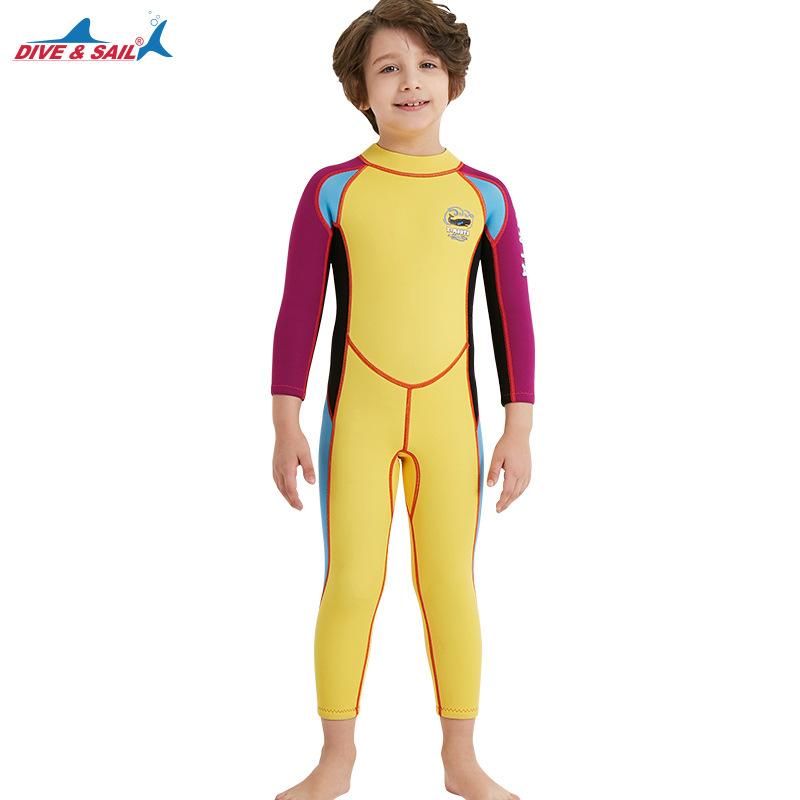 2.5mm Children's High Elastic Scuba Diving Suit Long Sleeve Bathing Suit Yellow purple sleeve_XL