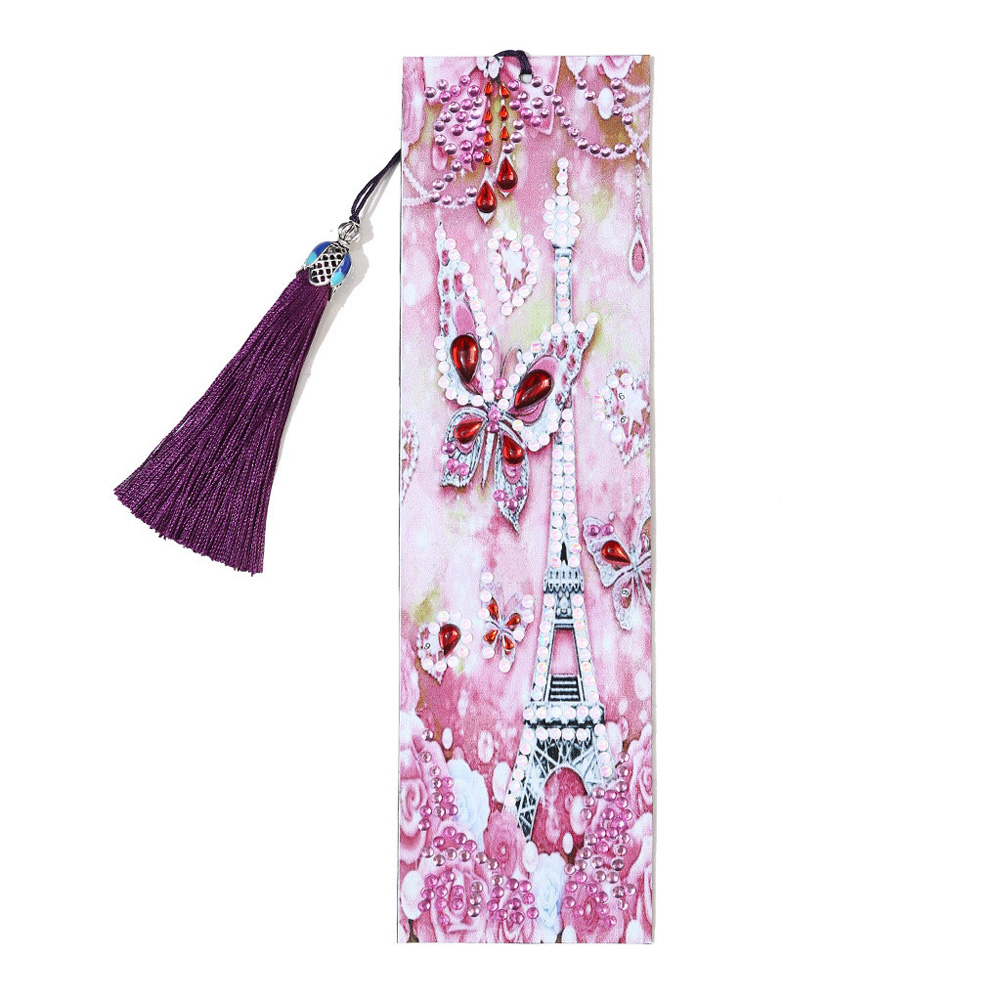 5D DIY Diamond Painting Leather Bookmark with Tassel Special Shaped Diamond Embroidery DIY Craft M055 Bookmark-Tower