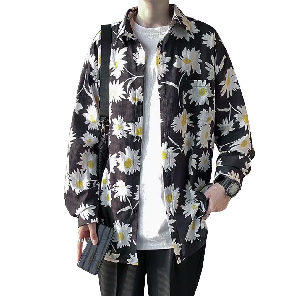 Women Men Leisure Shirt Personality Loose Daisy Printing Short Sleeve Retro Hawaii Beach Shirt Top Summer C116 # Chrysanthemum_L