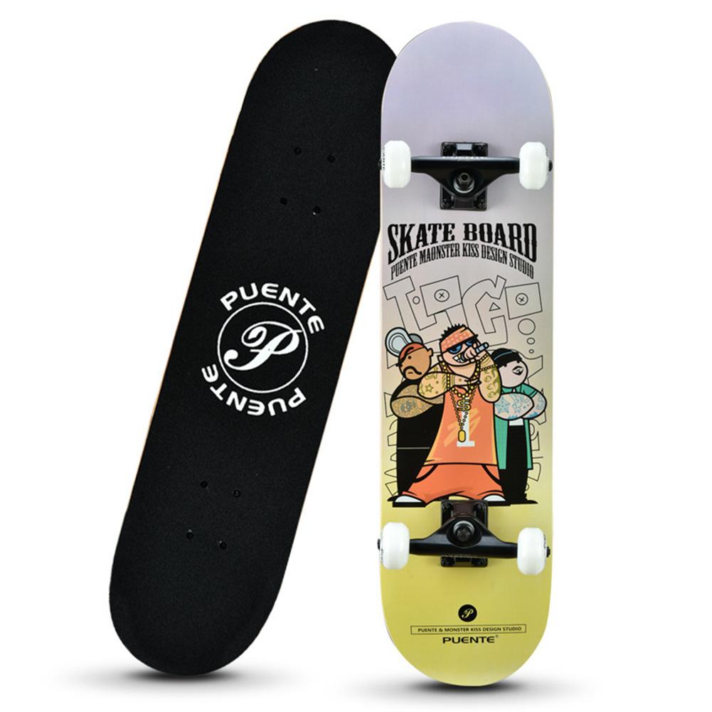 Four-wheel Skateboard Double Rocker Printed  Skate  Board For Beginners Human