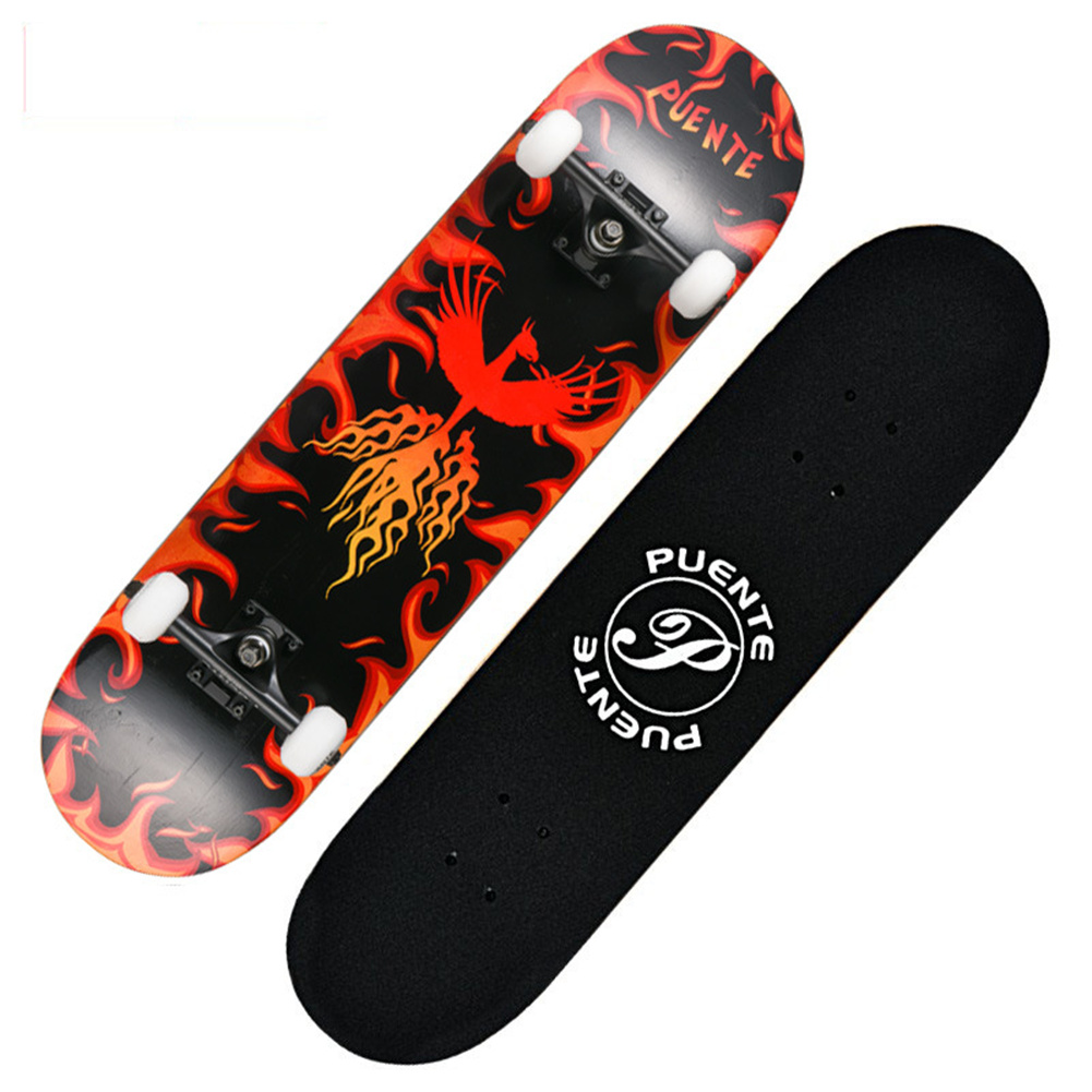 Four-wheel Skateboard Double Rocker Printed  Skate  Board For Beginners flaming Phenix