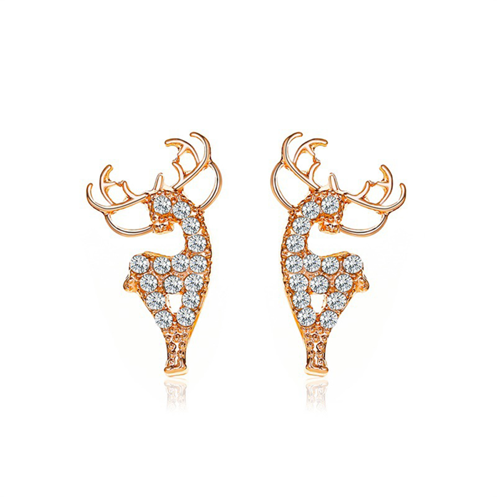1  Pair of  Women's  Earrings  Alloy  Christmas Deer-shape  Earrings Golden