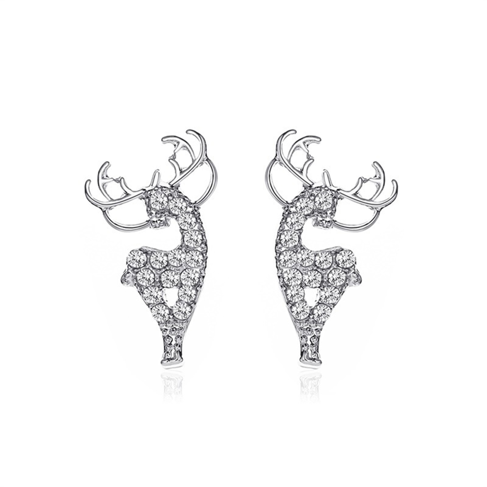 1  Pair of  Women's  Earrings  Alloy  Christmas Deer-shape  Earrings Silver