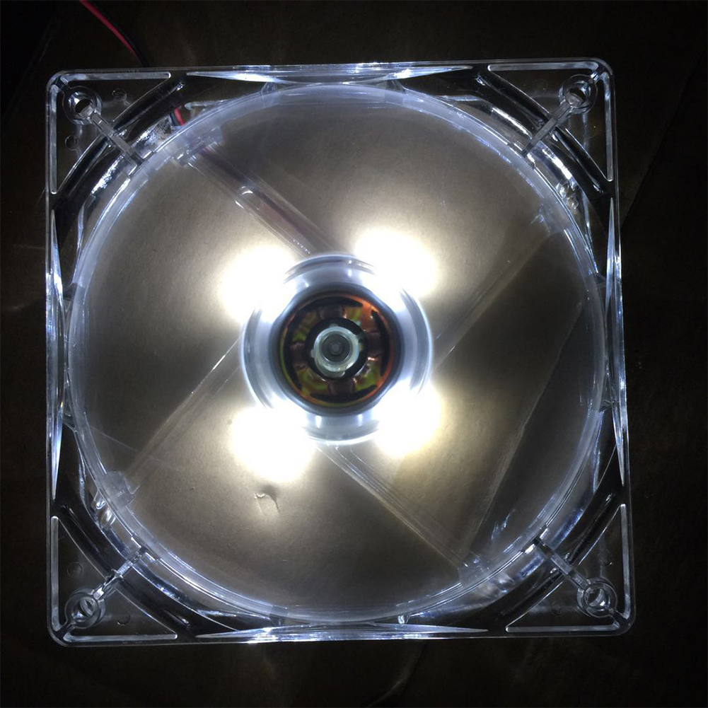 12CM PC Computer Fan 4 LED Light Fan PC CPU Cooling Cooler Fan for Computer Case CPU Cooler Radiator  white