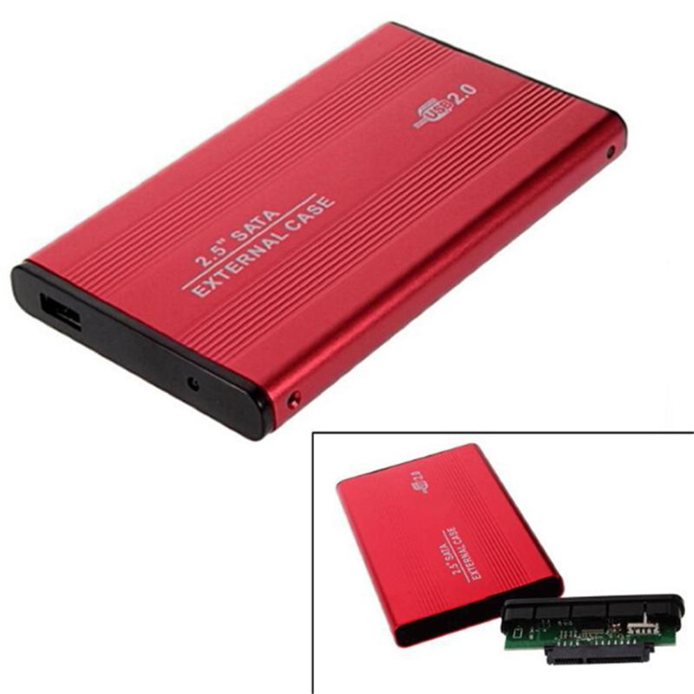 2.5 Inch USB 2.0 SATA HDD Case External Mobile Hard Disk Drive Box Aluminum Alloy Shell red