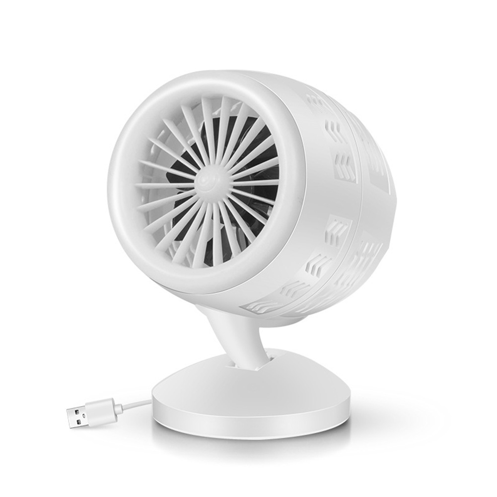 Mini Portable USB Mute Double Blade Fan for Office Computer Desktop Air Cooler white_Double blade turbofan