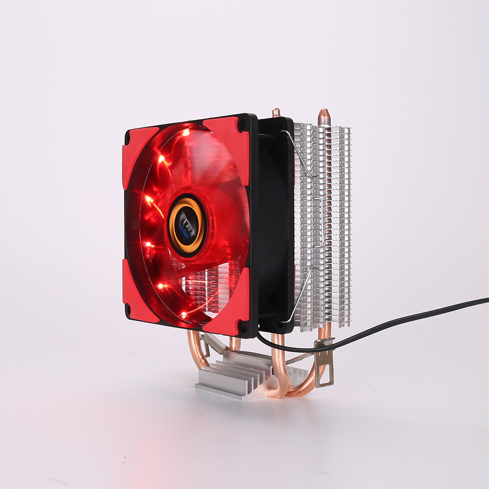 9cm CPU Cooler Pure Copper Double Heat Pipe CPU Radiator Brass Tower CPU Fan Cooling System red light