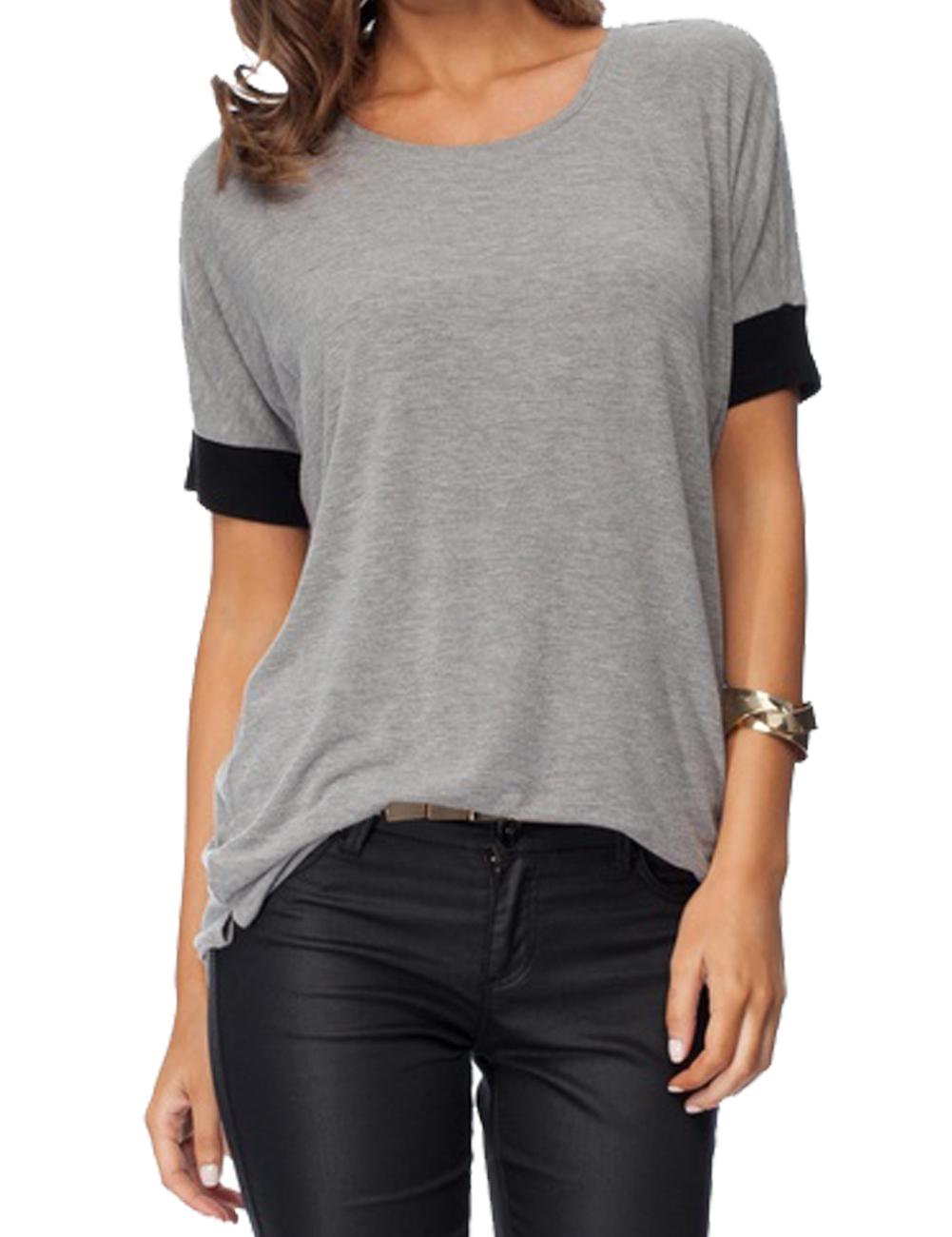 Imixcity Women's Casual Round Collar Short Sleeve T-Shirt Blouse Tops