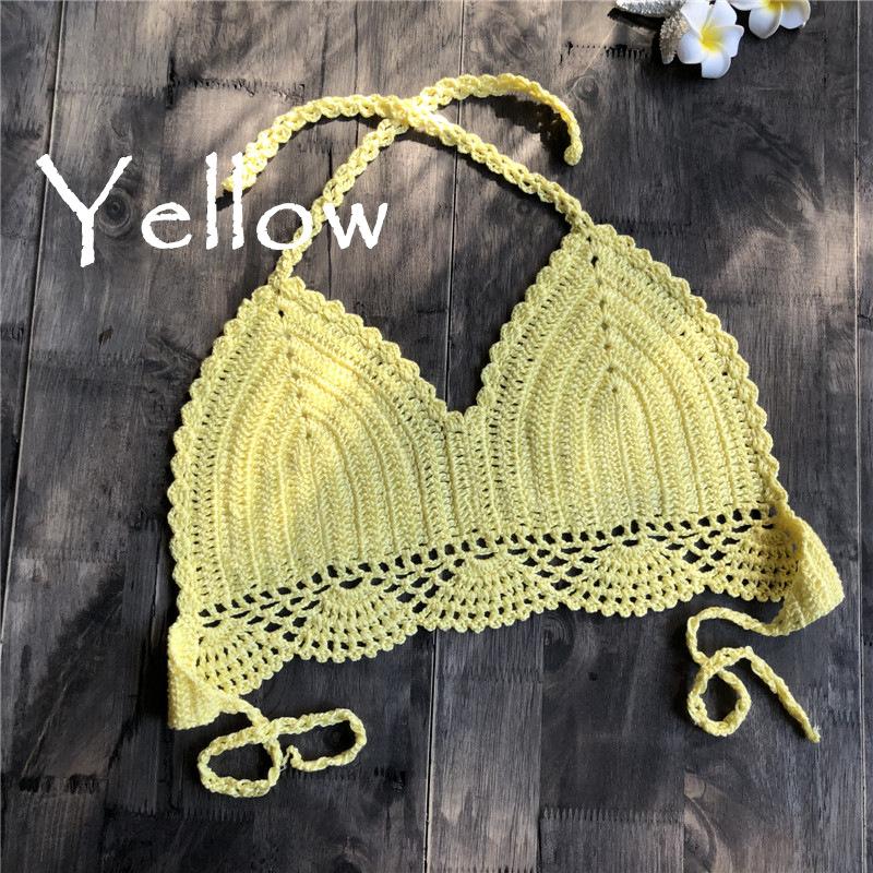 Women Delicate Knit Bikini Tops All-matching Bra yellow_L