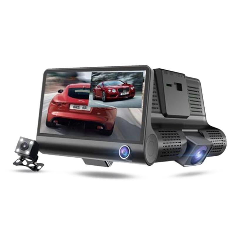 Car DVR 4.0 Inch Full HD 1080p 3 Camera Dual Lens Rearview Video Camera Recorder Auto Registrator Night Vision Dash Cam black_3-way camera
