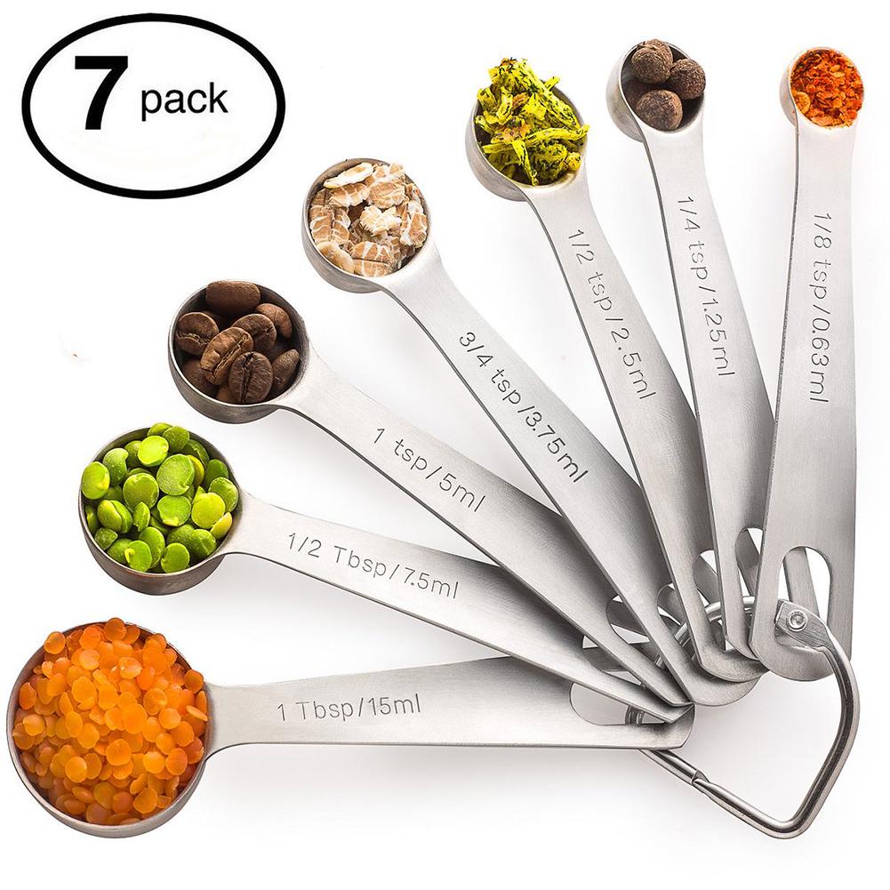 7Pcs/Set Stainless Steel Measuring Spoon Baking Tools Kitchen Gadget Stainless steel