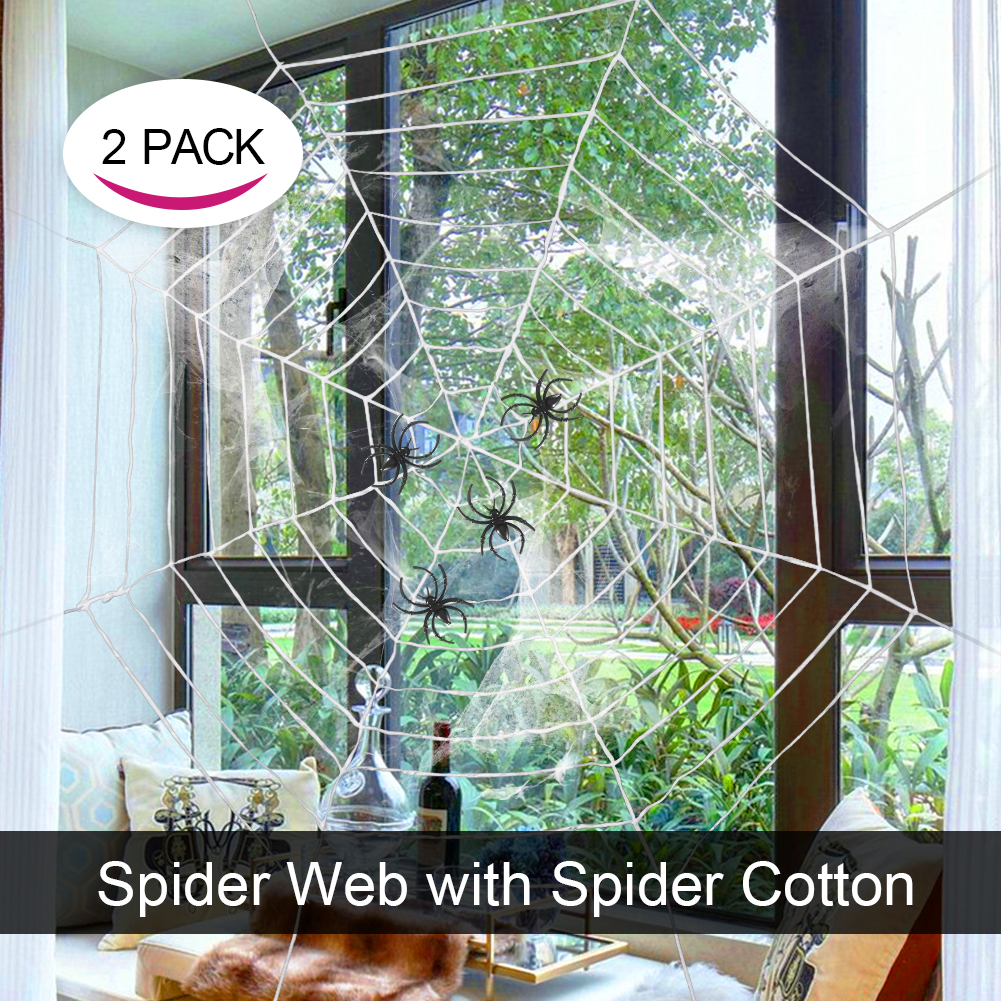 [US Direct] Lumiparty 2Pack Halloween Party Decorations Giant Spider Webs Set with Spider Cotton, Fit for Outdoor and Indoor