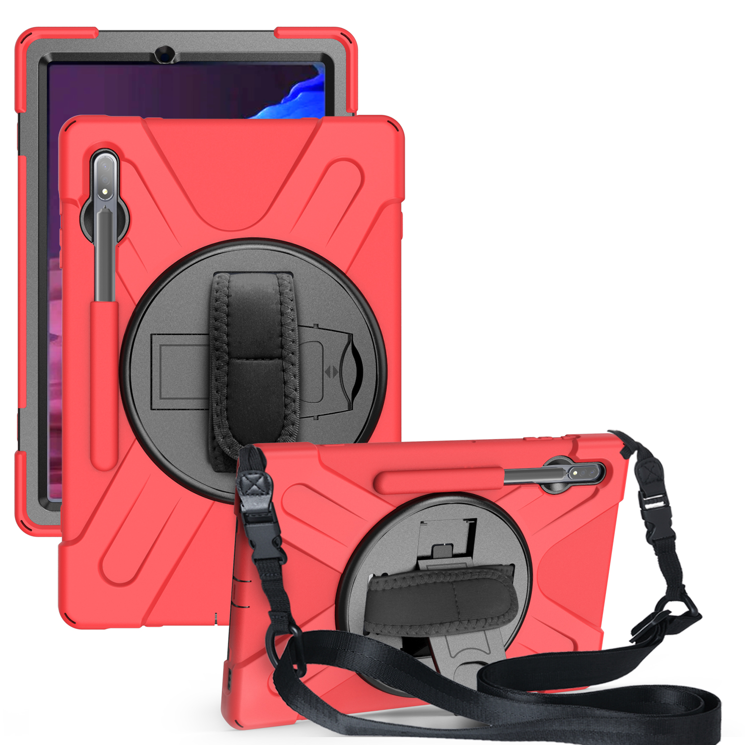 For Samsung Tab S7 T870 /Tab S7 Plus T970/T975 Protective Cover with Pen Slot Anti-fall Belt Holder + Wristband + Straps red_Samsung Tab S7 Plus T970/T975