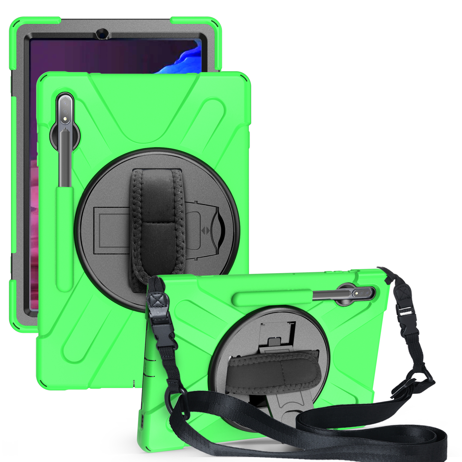 For Samsung Tab S7 T870 /Tab S7 Plus T970/T975 Protective Cover with Pen Slot Anti-fall Belt Holder + Wristband + Straps green_Samsung Tab S7 Plus T970/T975