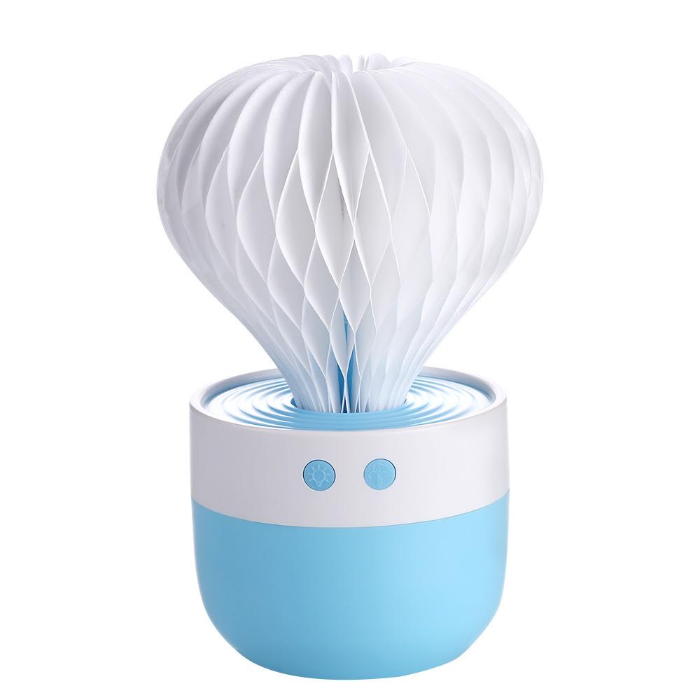 USB Humidifier Cactus-shape  Large Capacity Home Mini Desktop Air Purifier blue