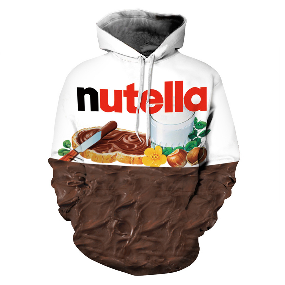 Street Style Sweatshirt Pullover Jumpers 3D Nutella Chocolate Printed Hoodie for Men and Women  Chocolate_XL