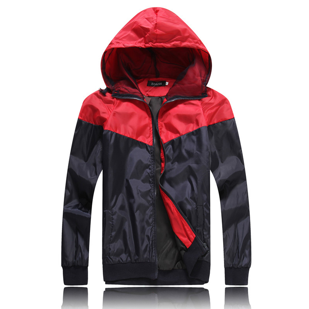 Men Fashion Autumn Thin Hooded Casual Slim Jacket Tops Coat red_XL
