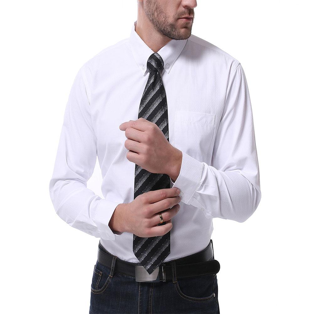Men's Leisure Shirt Autumn Solid Color Long-sleeve Business Shirt White _M