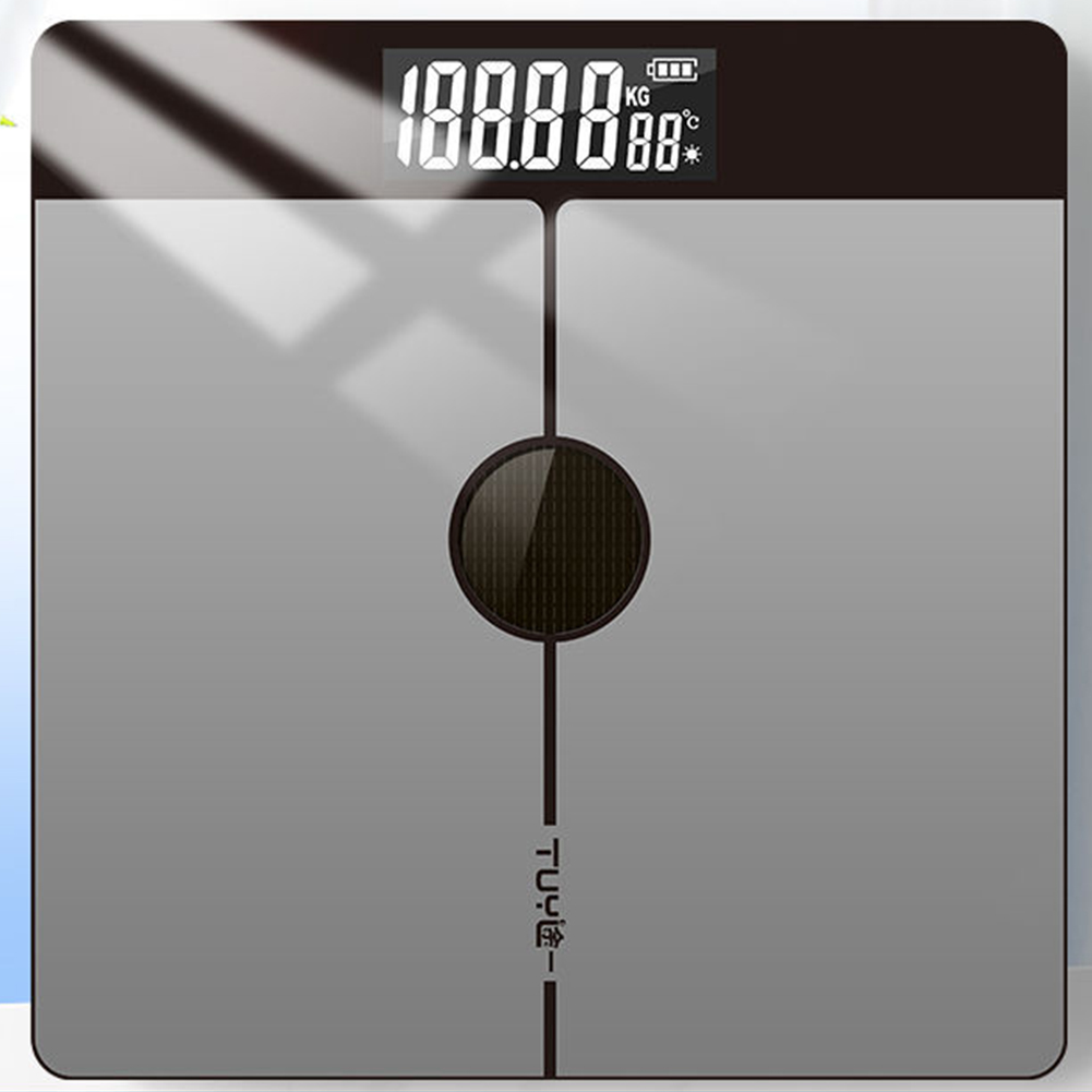 Light Energy Charging Household Electronic Scale Body Weight Health Scales  6038 silver light energy_28 * 28 solar charging