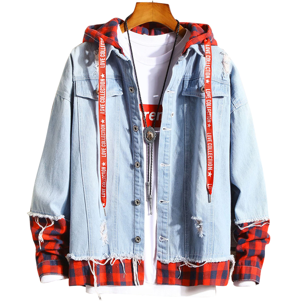 Men Fake Two Pieces Denim Jacket Plaid Short Fashion Coat  260 red plaid- light blue_S