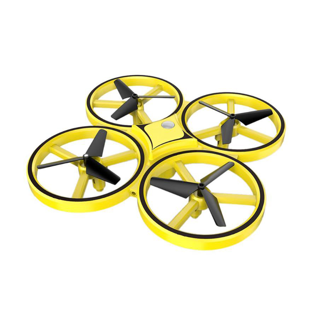 Induction Suspension Four-axis RC Aircraft with Gesture Control Toy for Kids yellow