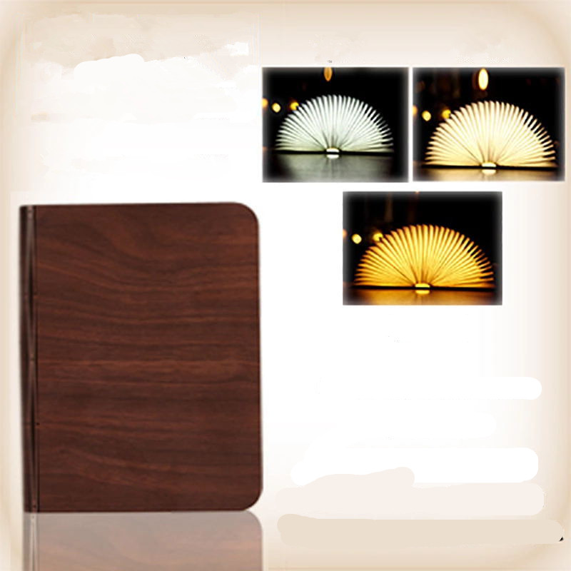 Portable USB Rechargeable LED Light Foldable Wooden Book Lamp for Home Decor Wooden Red Walnut Dupont Paper Small