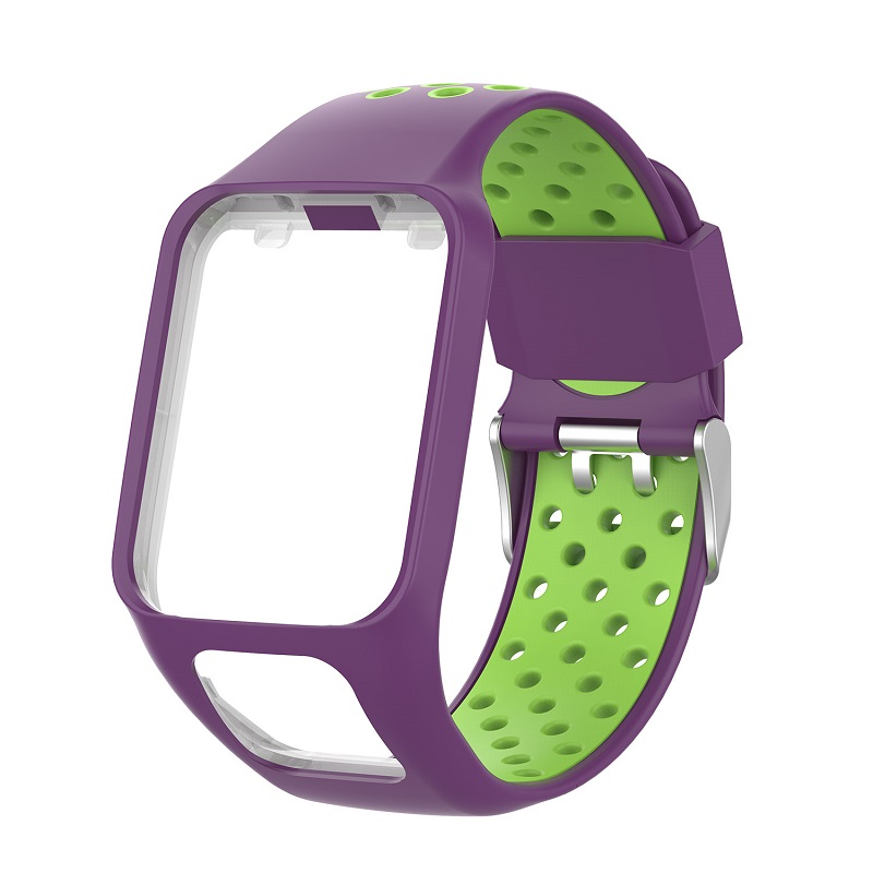 Replacement Silicone Pure Color Watch Strap For TomTom Runner 2 / 3 Breathable Band for Golfer2 Adventunrer Universal Sport Smart Watch Wristband Watch Accessories Violet green