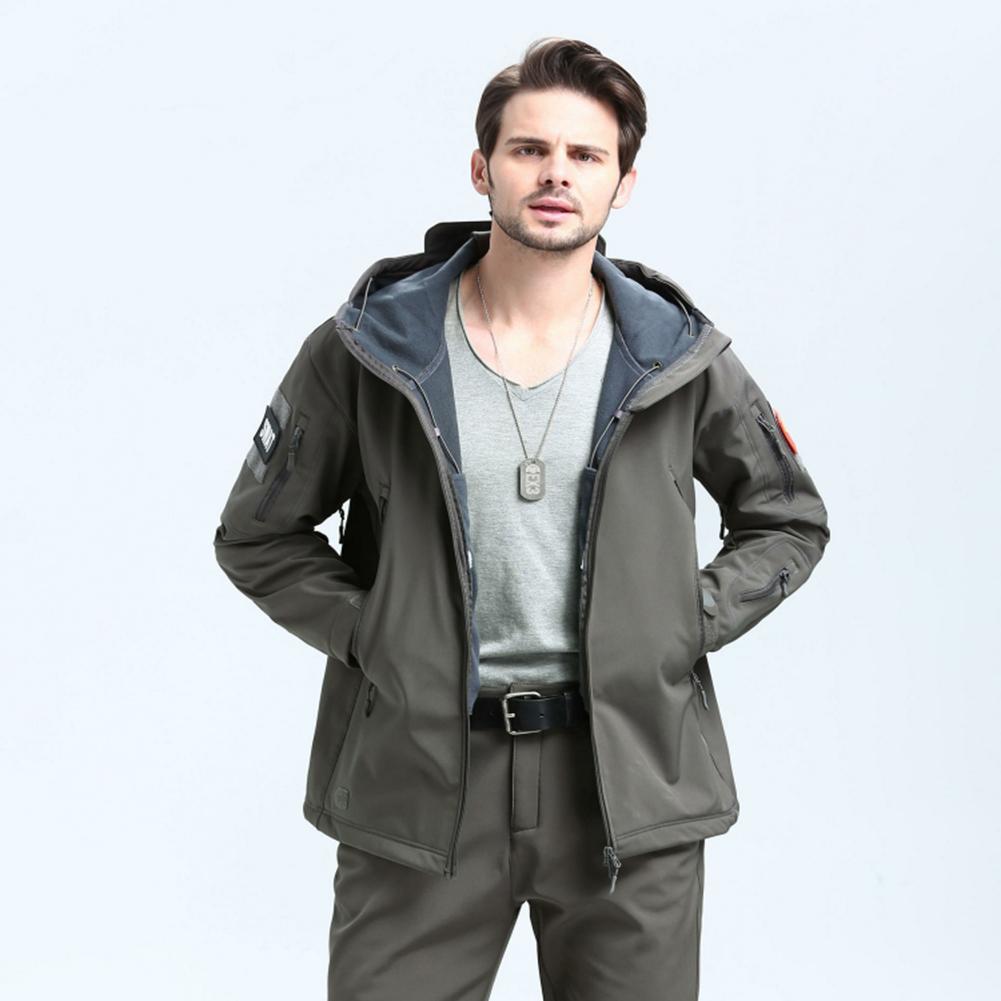 Men Outdoor 3 in 1 Waterproof Fleece Jacket gray_S