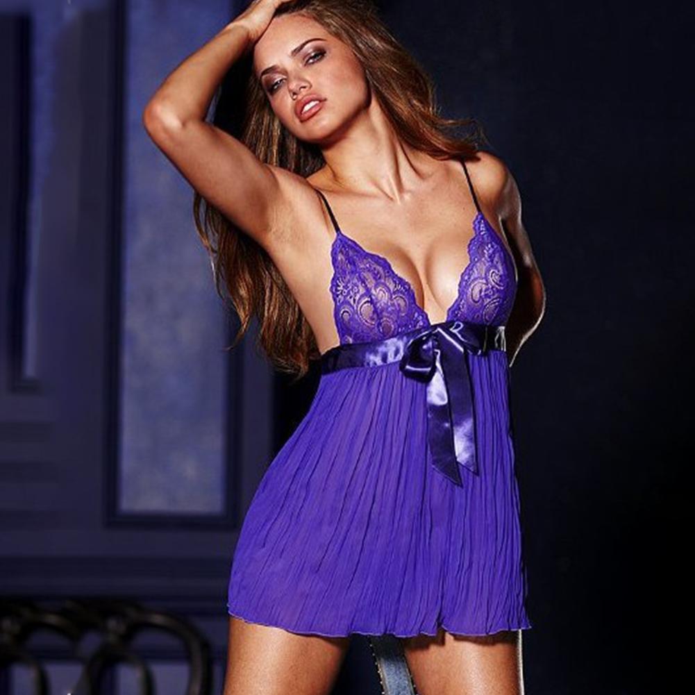 Lady Slip Dress Lace Brim Pajamas Nightdress Pure Color Woman See-through Sexy Underwear  purple_Free size