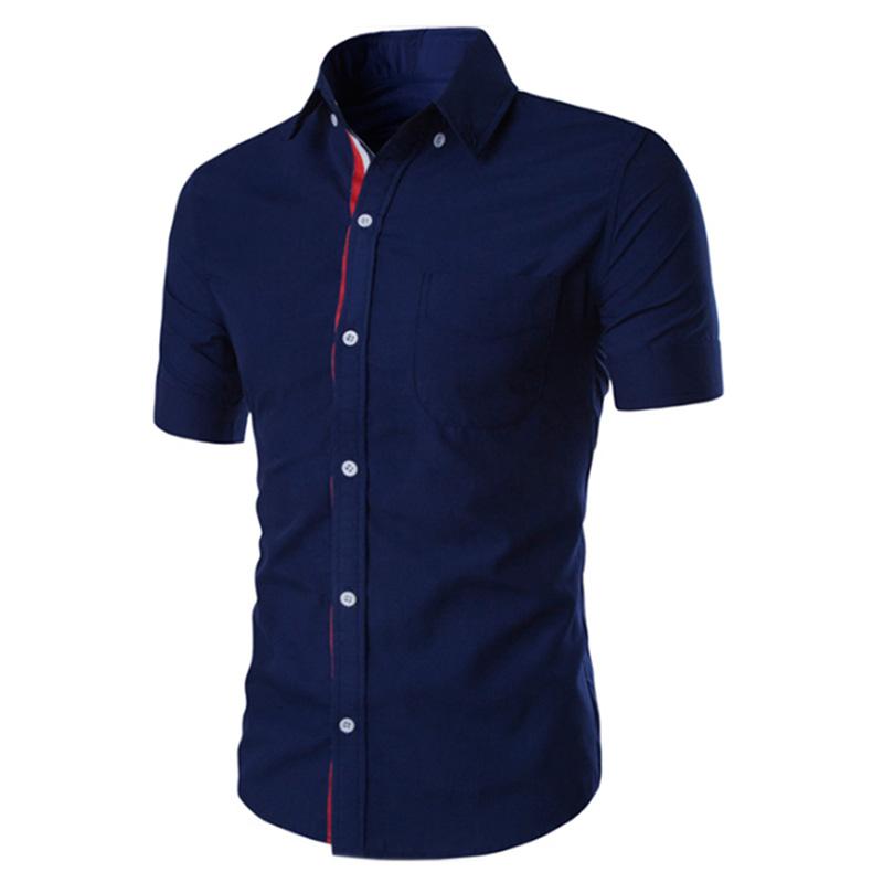 Summer Male Casual Short-sleeve Shirt Solid Colour Tops Gift dark blue_XL
