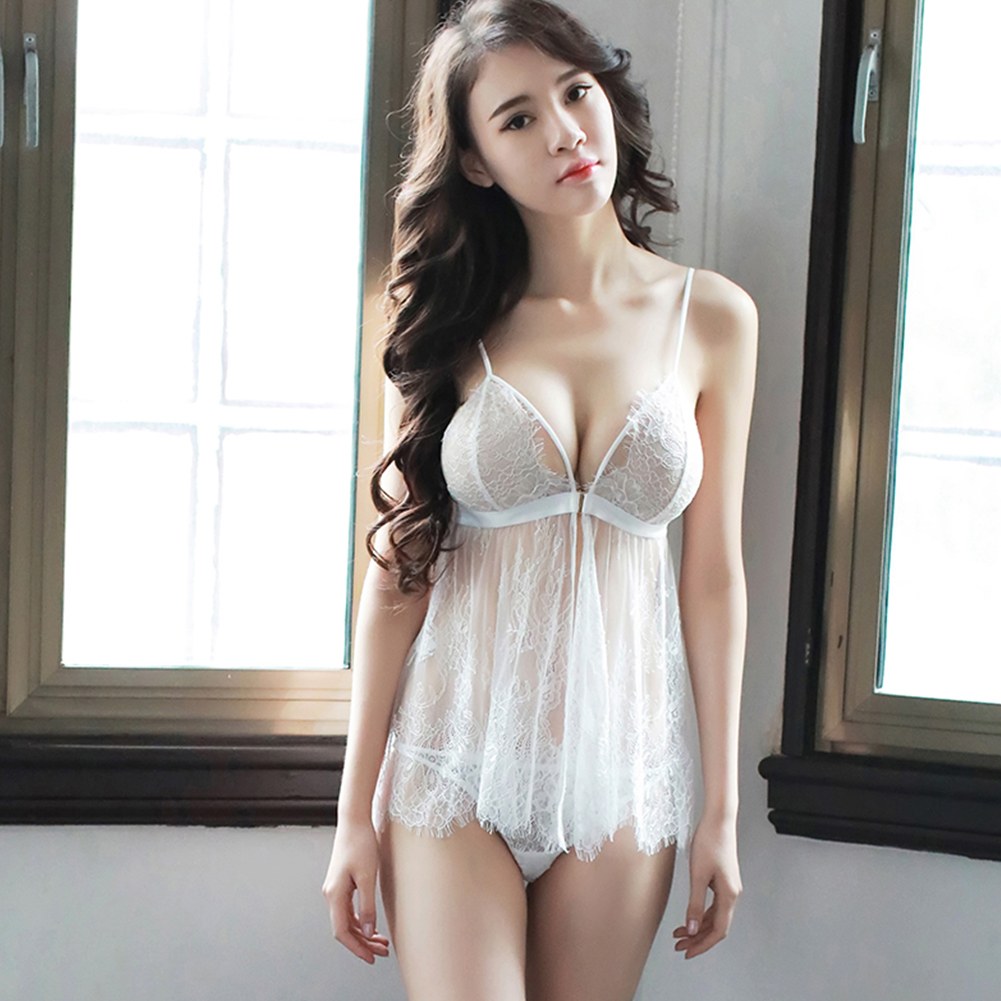 Woman Sexual Front Button Front Opening Deep V Collar Lace Sling Nightdress + Underwear Sexy Underwears Suit  white_Free size