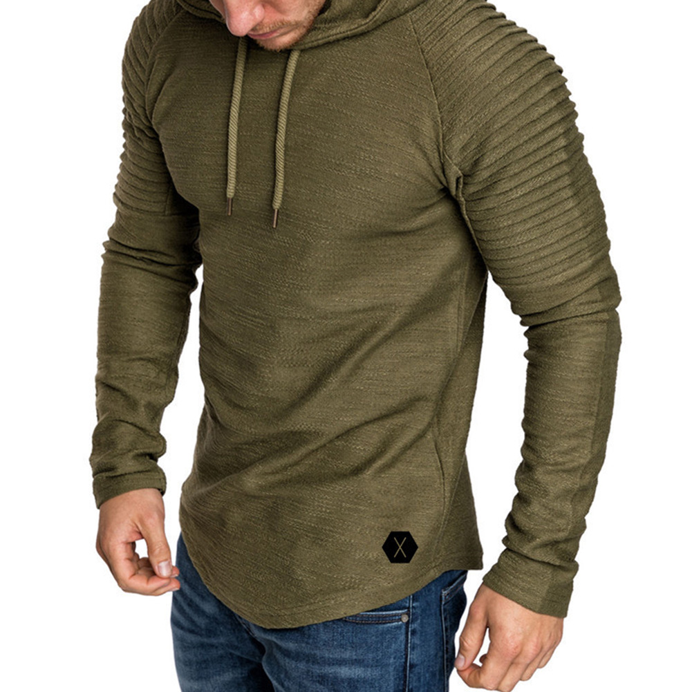 Men Slim Solid Color Long Sleeve T-shirt Casual Hooded Tops Blouse ArmyGreen_L