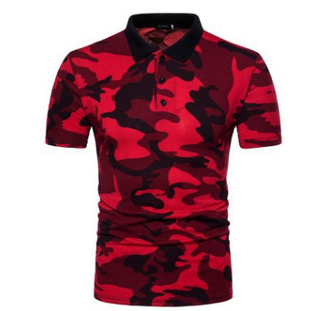 Men Summer Camouflage Color Slim Short Sleeve Lapel Shirt Top red_XL