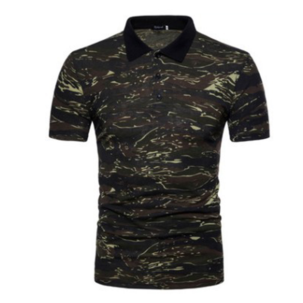 Men Summer Camouflage Color Slim Short Sleeve Lapel Shirt Top green_M
