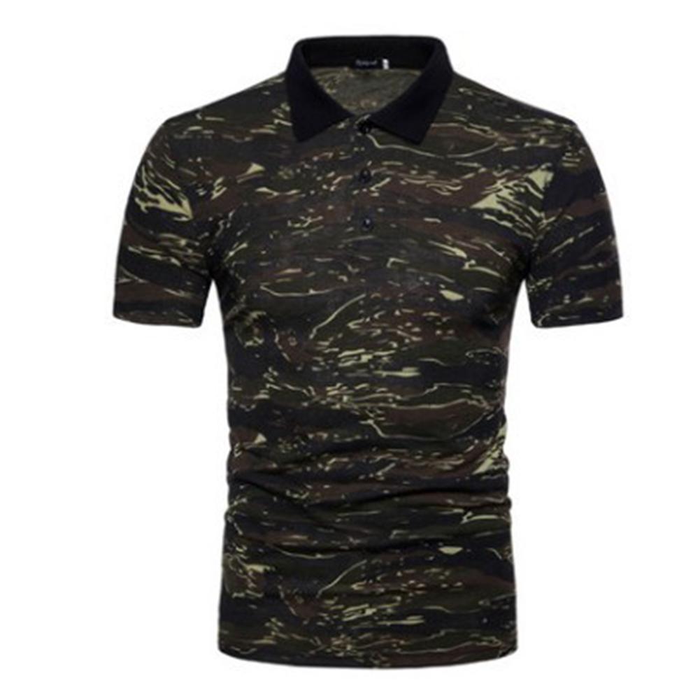 Men Summer Camouflage Color Slim Short Sleeve Lapel Shirt Top green_XL