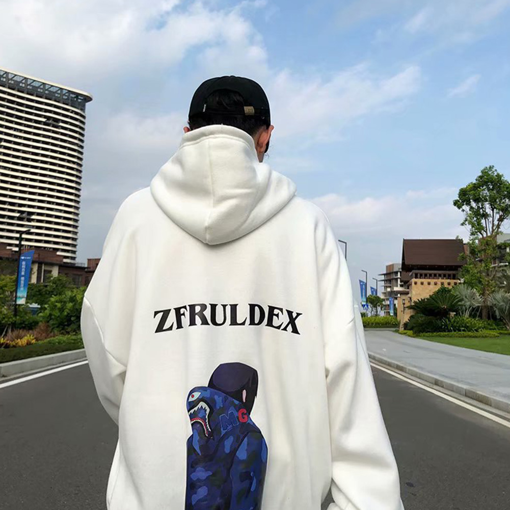 Men Autumn And Winter Fleece Loose Hooded Sweater Hoodie Tops white_L